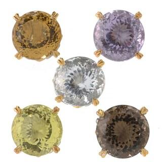 Michael Valitutti Palladium Silver Fancy Cut Round Gemstone Stud Earrings