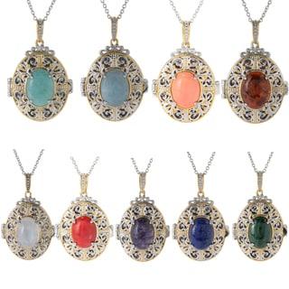 Michael Valitutti Palladium Silver Gemstone Locket Pendant (Option: Lapis)