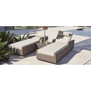 ALISA Outdoor Adjustable Wicker 3-piece Armrest Sun Lounger Set with Side Table