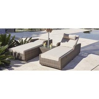 ALISA Outdoor Adjustable Wicker 3-piece Armrest Sun Lounger Set with Side Table by Direct Wicker