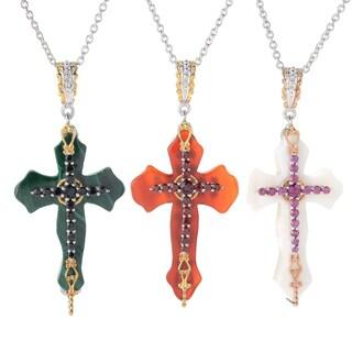 Michael Valitutti Palladium Silver Multi Gemstone Cross Pendant