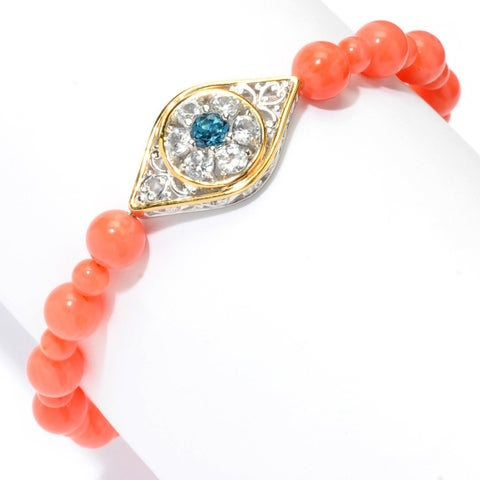 Michael Valitutti Palladium Silver Salmon Bamboo Coral, London Blue Topaz & White Zircon Evil Eye Bracelet