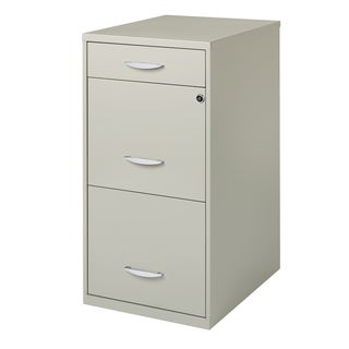"3 Drawer 18"" Deep File Storage Organizer in Grey"
