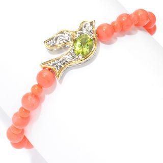 Michael Valitutti Palladium Silver Salmon Bamboo Coral & Peridot Peace Dove Bracelet