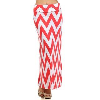 Women's White and Coral Chevron Striped Maxi Skirt