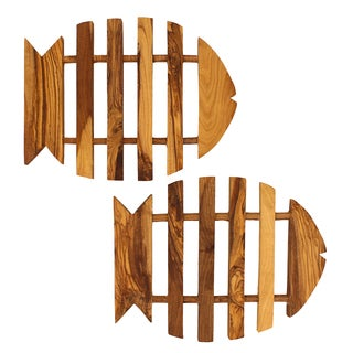 French Home Set of 2 Olive Wood Fish Trivet
