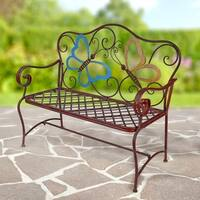 Metal Colored Butterflies Garden Bench