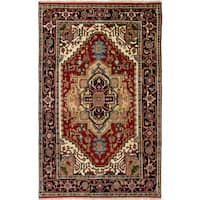 Ecarpetgallery Hand-Knotted Serapi Heritage Red  Wool Rug (4'10 x 7'10)