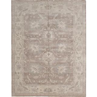 Ecarpetgallery Hand-Knotted Finest Ushak Brown, Grey  Wool Rug (9'1 x 11'11)