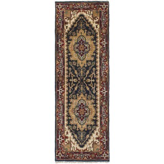 Ecarpetgallery Hand-Knotted Serapi Heritage Blue Wool Rug (2'5 x 7'7)