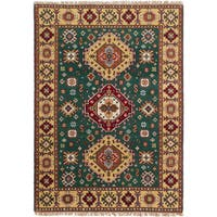 Ecarpetgallery Hand-Knotted Royal Kazak Green  Wool Rug (4'7 x 6'6)