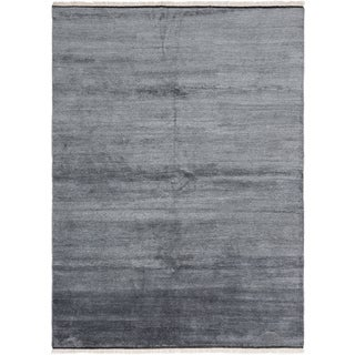 Ecarpetgallery Hand-Knotted Arlequin Grey Bamboo Silk Rug (7'8 x 10'4)