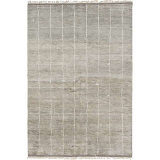 Ecarpetgallery Hand-Knotted Arlequin Grey  Wool Rug (6'2 x 8'11)