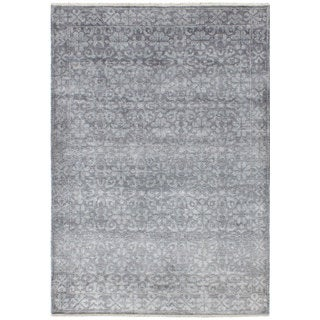 Ecarpetgallery Hand-Knotted Jules Ushak Grey  Art Silk Rug (4'0 x 5'11)