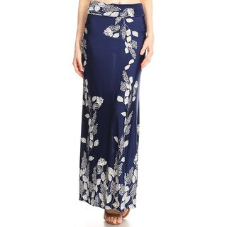 Women's Navy Vines Pattern Maxi Skirt