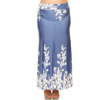 Women's Plus Size Blue White Botanical Maxi Skirt