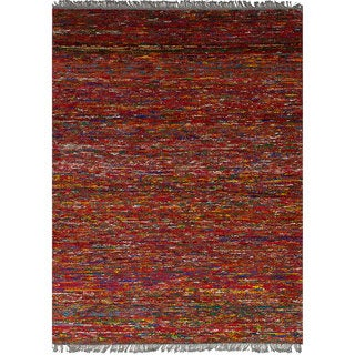 Ecarpetgallery Hand-Knotted Red Sari Silk Rug (4'11 x 6'8)