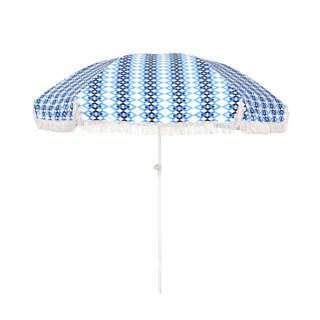 6.5-foot Round Push Open Fiberglass Rib Fringed Beach Umbrella Set