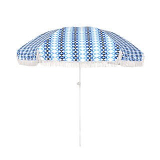 6.5-foot Round Push Open Fiberglass Rib Fringed Beach Umbrella Set