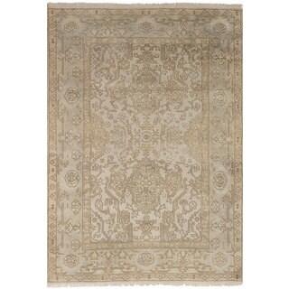 Ecarpetgallery Hand-Knotted Royal Ushak Ivory  Wool Rug (5'1 x 7'5)