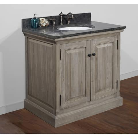 Rustic Style 36 inch Single Sink Bathroom Vanity with Dark Limestone Top