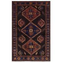 Ecarpetgallery Hand-Knotted Nahavand Black, Blue  Wool Rug (4'3 x 7'0)