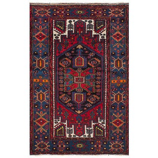 Ecarpetgallery Hand-Knotted Nahavand Blue, Red Wool Rug (4'3 x 6'11)