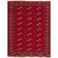 Ecarpetgallery Hand-Knotted Turkoman Red  Wool Rug (4'3 x 5'8)