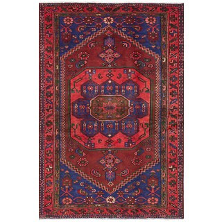 Ecarpetgallery Hand-Knotted Hamadan Red  Wool Rug (4'0 x 6'4)