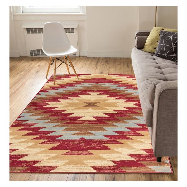 """Eastgate Traditional Southwestern Red Area Rug - 9'3"""" x 12'6"""""""