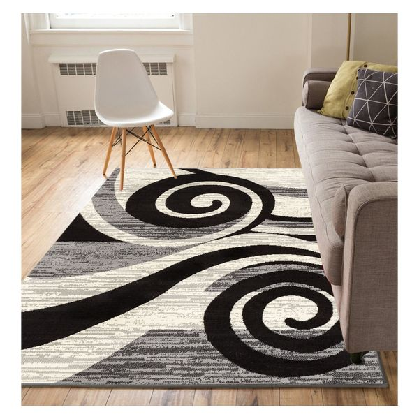 """Eastgate Modern Abstract Waves Grey Area Rug - 8'2"""" x 9'10"""""""
