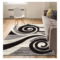 "Eastgate Modern Abstract Waves Grey Area Rug - 8'2"" x 9'10"""