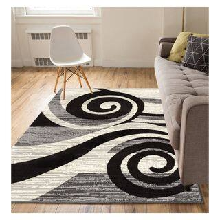 Eastgate Modern Abstract Waves Grey Area Rug 8 2 X 9 10
