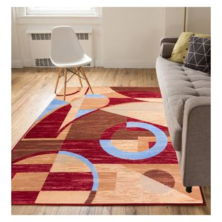 Eastgate Abstract Modern Geo Circles Red Area Rug (8'2 x 9'10)