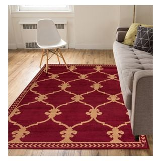 Eastgate Transitional Trellis Red Area Rug (8'2 x 9'10)