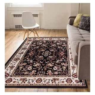 Eastgate Traditional Oriental Classic Black Area Rug (8'2 x 9'10)