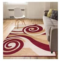 "Eastgate Modern Abstract Waves Red Area Rug - 8'2"" x 9'10"""