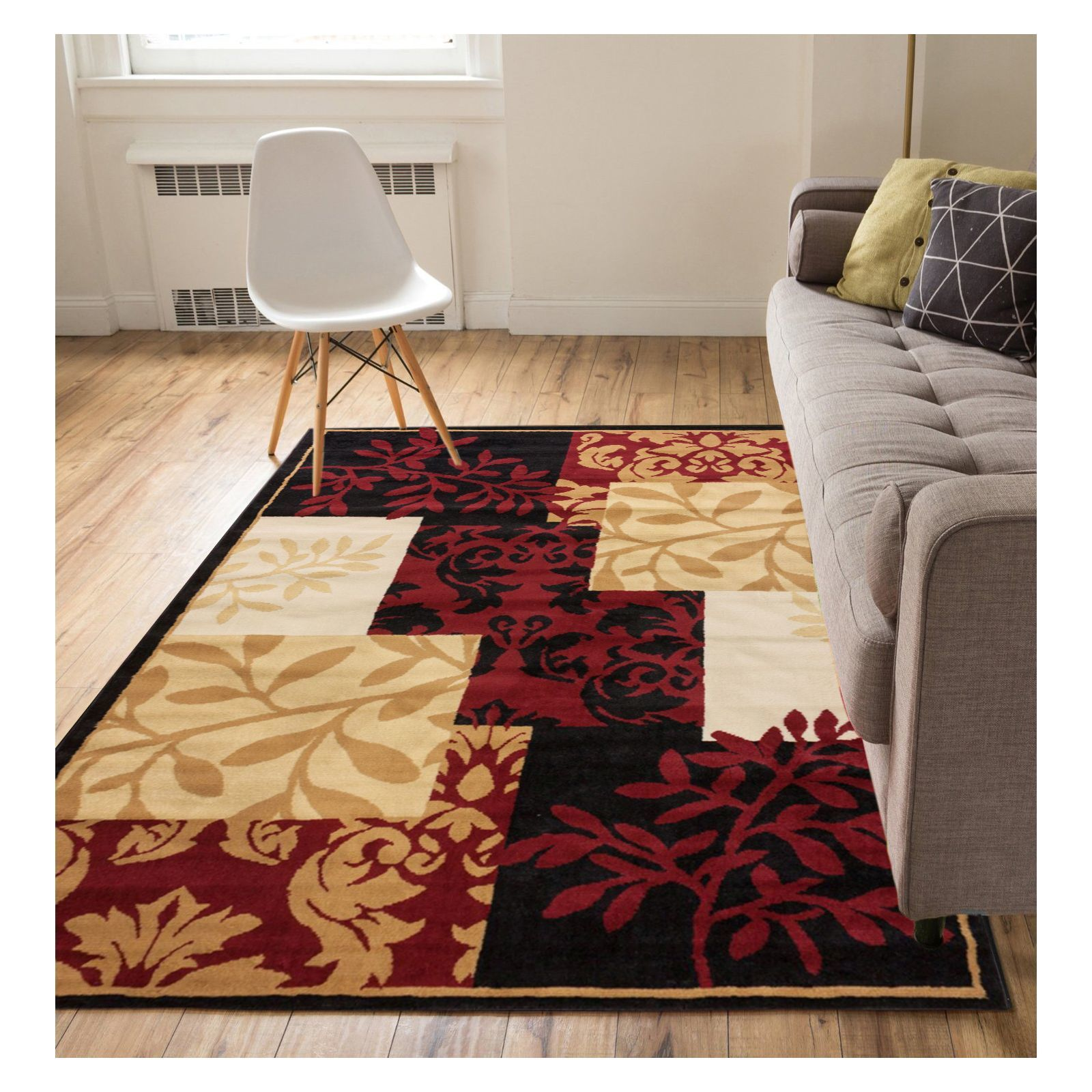 Well Woven Eastgate Floral Modern Patchwork Leaves Brown ...