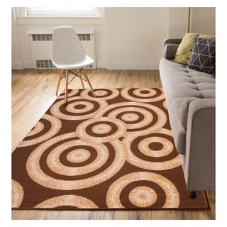 Eastgate Modern Rings And Circles Brown Ivory Area Rug (8'2 x 9'10)