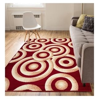 Eastgate Modern Rings And Circles  Red Area Rug (8'2 x 9'10)