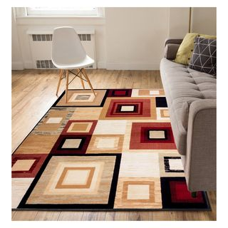 Eastgate Geometric Modern Squares  Red Area Rug (8'2 x 9'10)