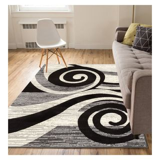 Eastgate Modern Abstract Waves Grey Area Rug (5' x 7')