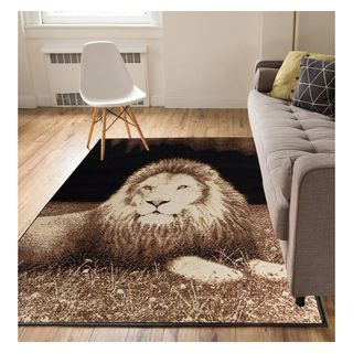 Eastgate Animal Print Novelty Lion Black Area Rug (5' x 7')