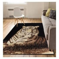 "Eastgate Animal Print Novelty Lion Black Area Rug - 5'3"" x 7'3"""