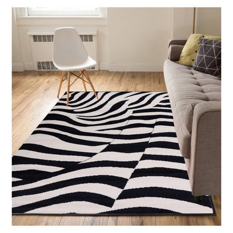 "Well Woven Eastgate Animal Print Novelty Zebra Black Beige Area Rug - 5'3"" x 7'3"""