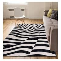 "Eastgate Animal Print Novelty Zebra Black BeigeArea Rug - 5'3"" x 7'3"""