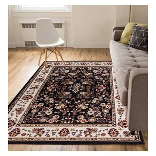 "Eastgate Traditional Oriental Classic Black Area Rug - 5'3"" x 7'3"""