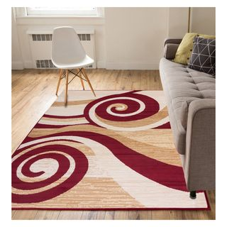 Eastgate Modern Abstract Waves Red Area Rug (5' x 7')