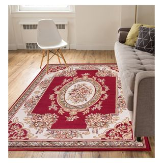 Eastgate Traditional French Country Aubusson Red Area Rug (5u0027 X ...