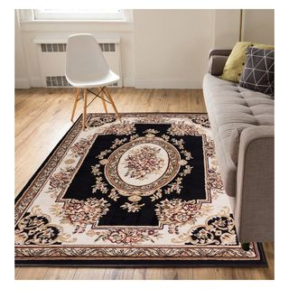 Eastgate Traditional French Country Aubusson Black Area Rug (5' x 7')